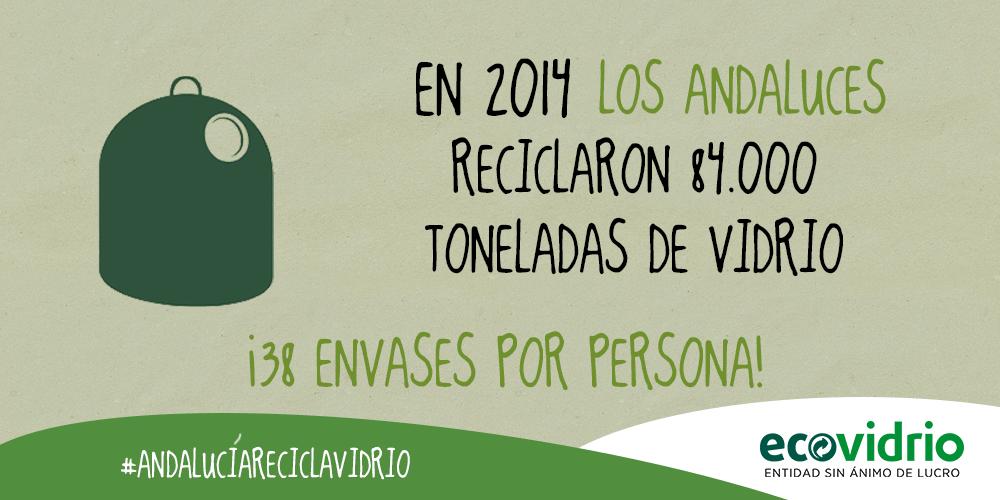 Toneladas de vidrio recicladas Andalucia 2014