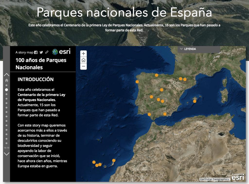 mapa ESRI parques nacionales
