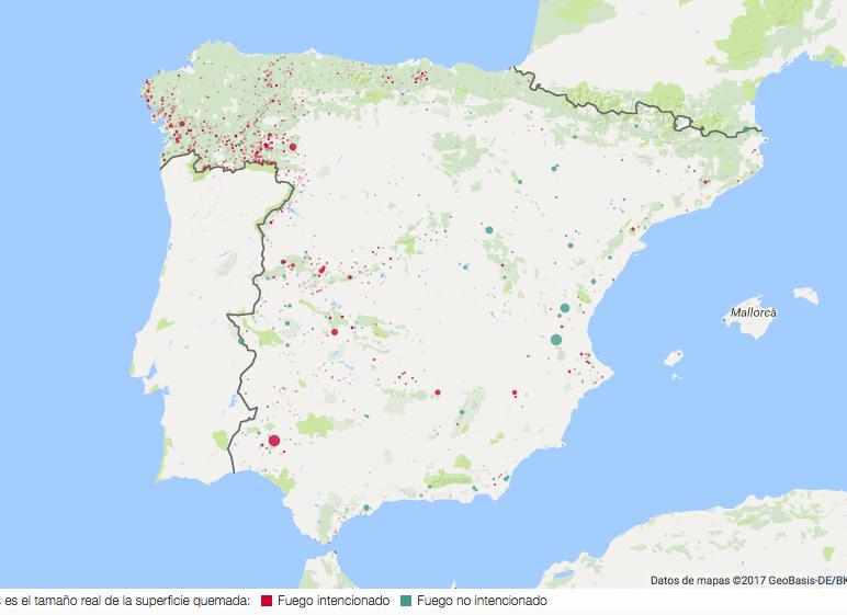 Mapas España en llamas