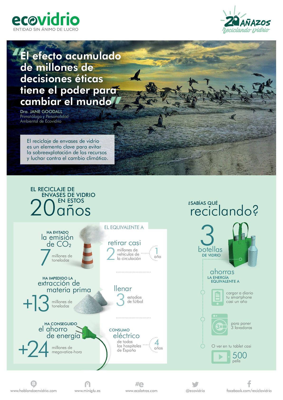 Dia Mundial del Medio Ambiente - Infografía datos de reciclaje de envases de vidrio