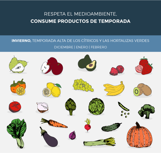 frutas y verduras de invierno