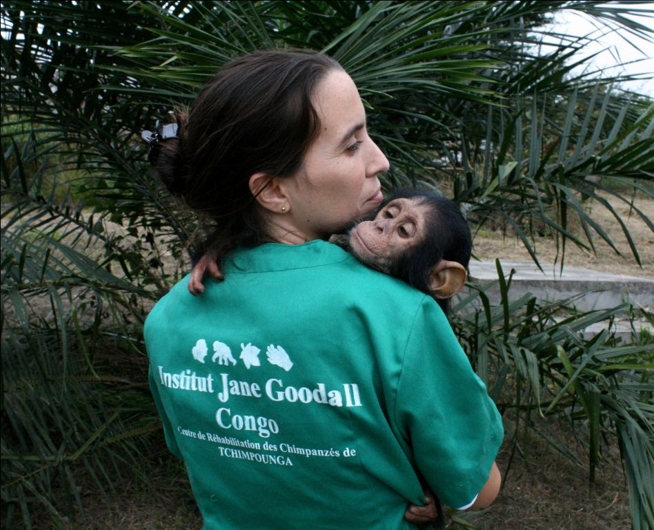 rebeca con un chimpancé