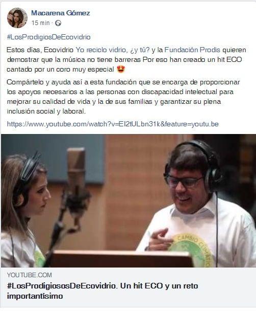 macarena gomez - publicacion facebook