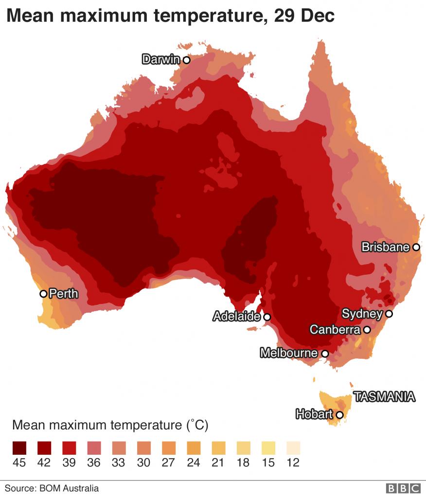 incendios forestales en australia - mapa de temperaturas