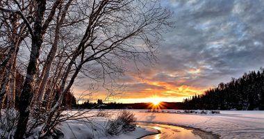 calor en invierno - paisaje nevado y soleado