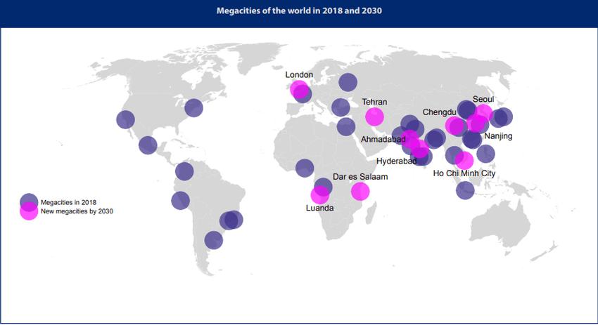 mapa de todas las megaciudades del mundo
