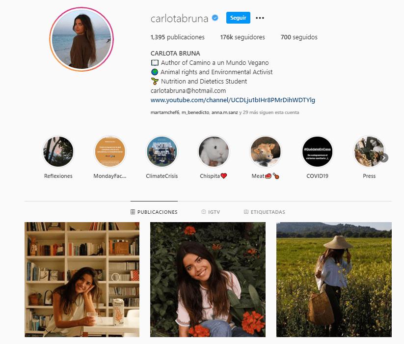 influencer ecologista Carlota Bruna Instagram - cambio climático