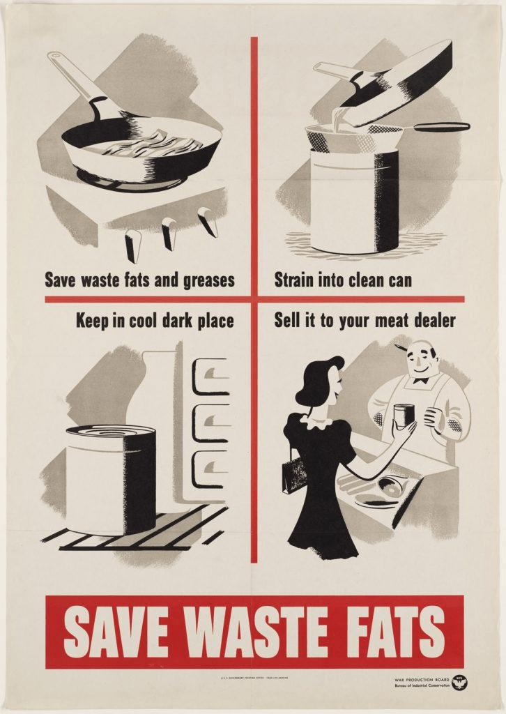 historia del reciclaje en la II guerra mundial - guardar las grasas para fabricar explosivos