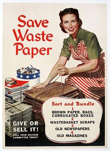 reciclar papel y carton en la II GM - historia del reciclaje durante la guerra mundial