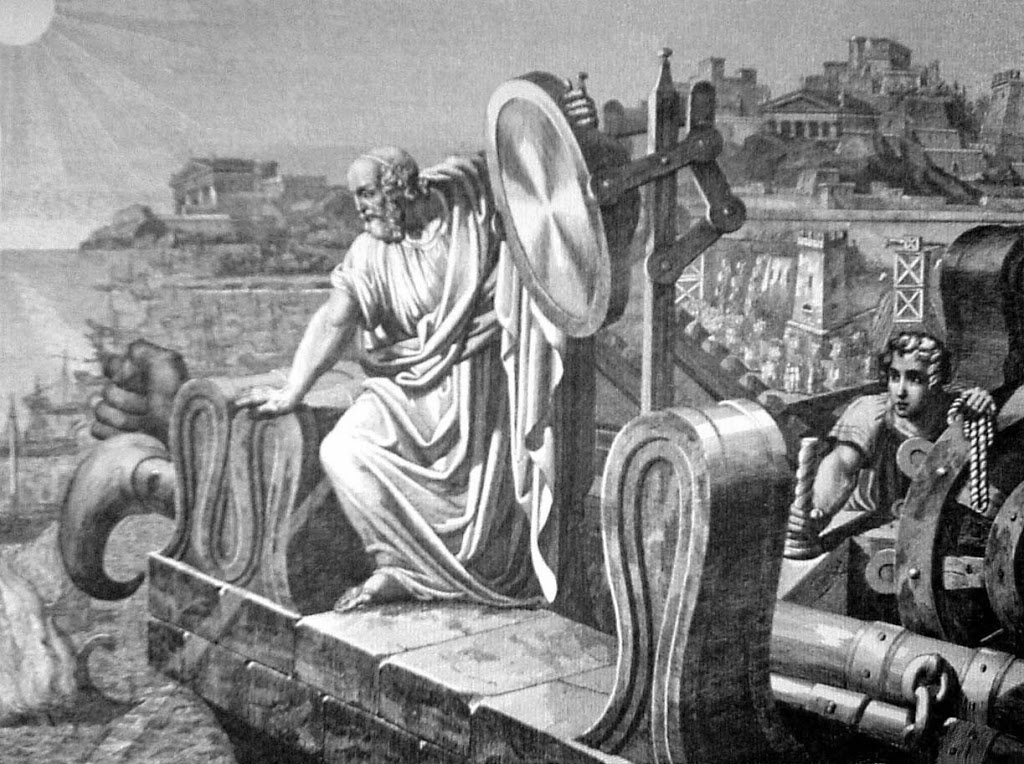 Arquímedes con sus espejos defendiendo Siracusa