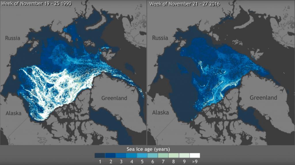 Disminución del volumen de hielo en el ártico
