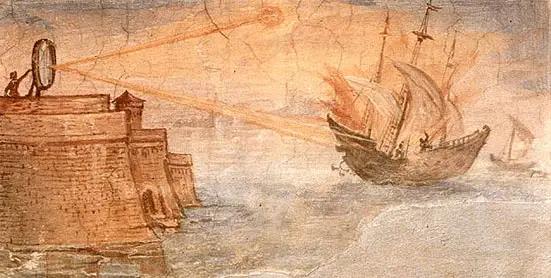 Pintura de Giulio Parigi. Uso de la energía solar. El rayo de Arquímedes